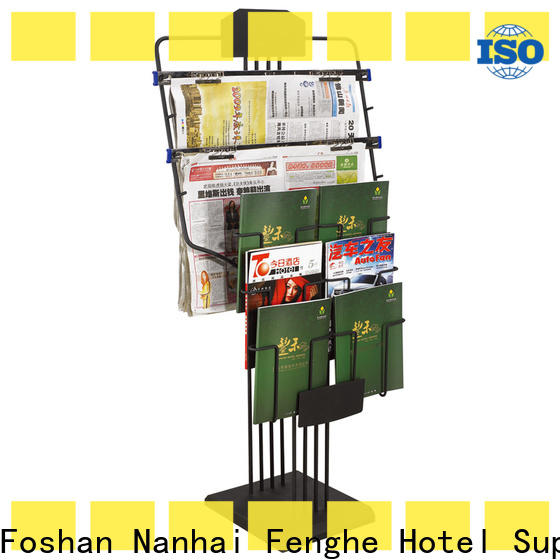 Fenghe wood newspaper display rack purchase online for guest rooms
