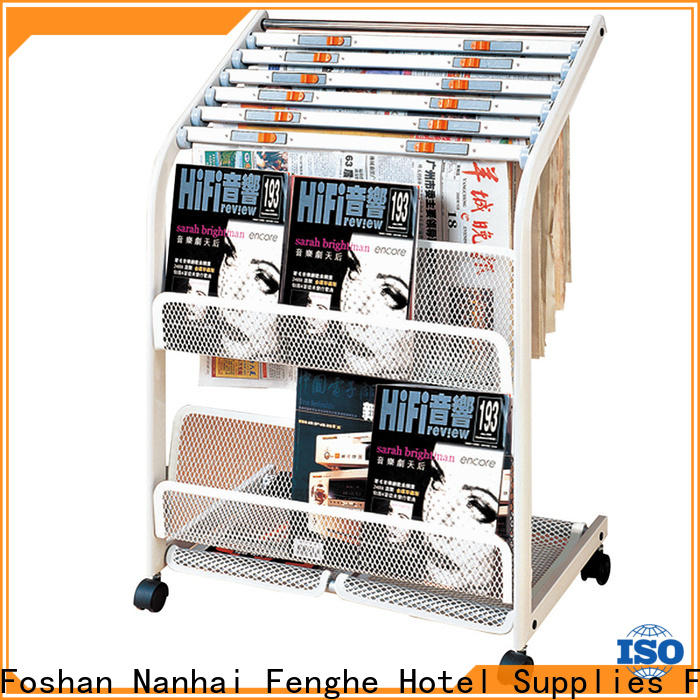 Fenghe wheels newspaper stand for hotel quick transaction for wholesale