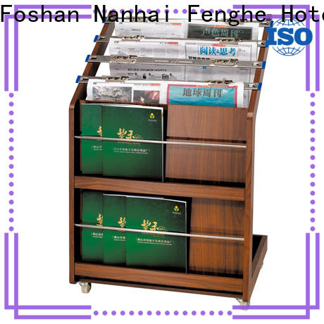 Fenghe magazine newspaper stand for hotel quick transaction for importer