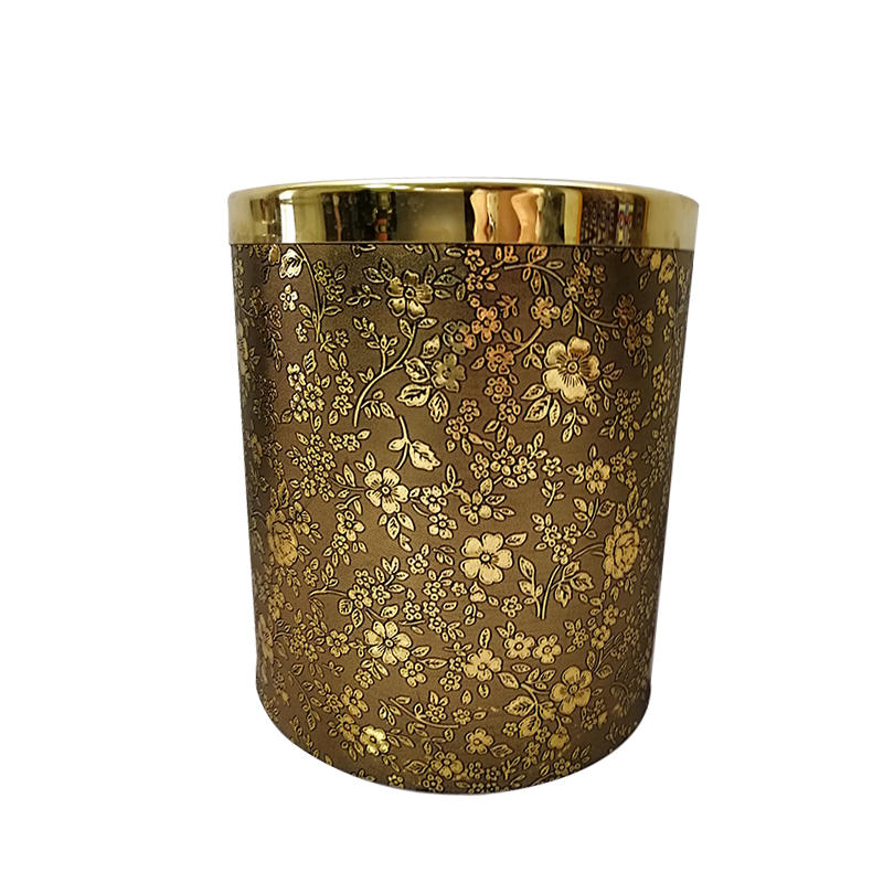 Hotel room dustbin single layer trash can leather waste bin garbage can