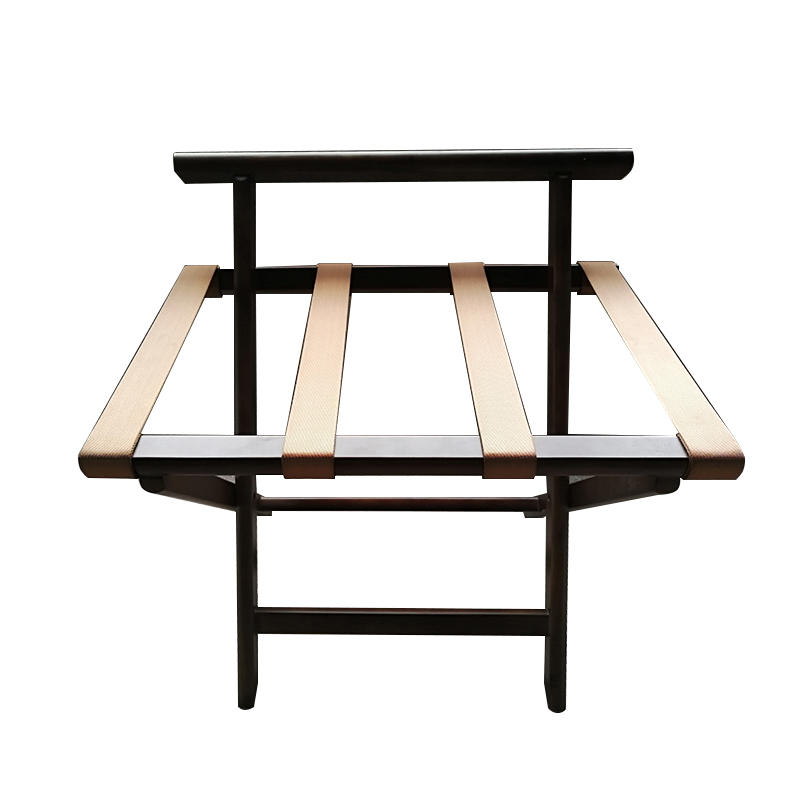 Modern wooden folding hotel guest room luggage rack with back
