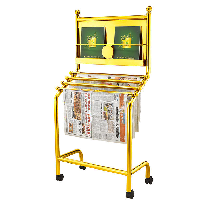 Metal newspaper display rack hotel newspaper stand information rack with wheels