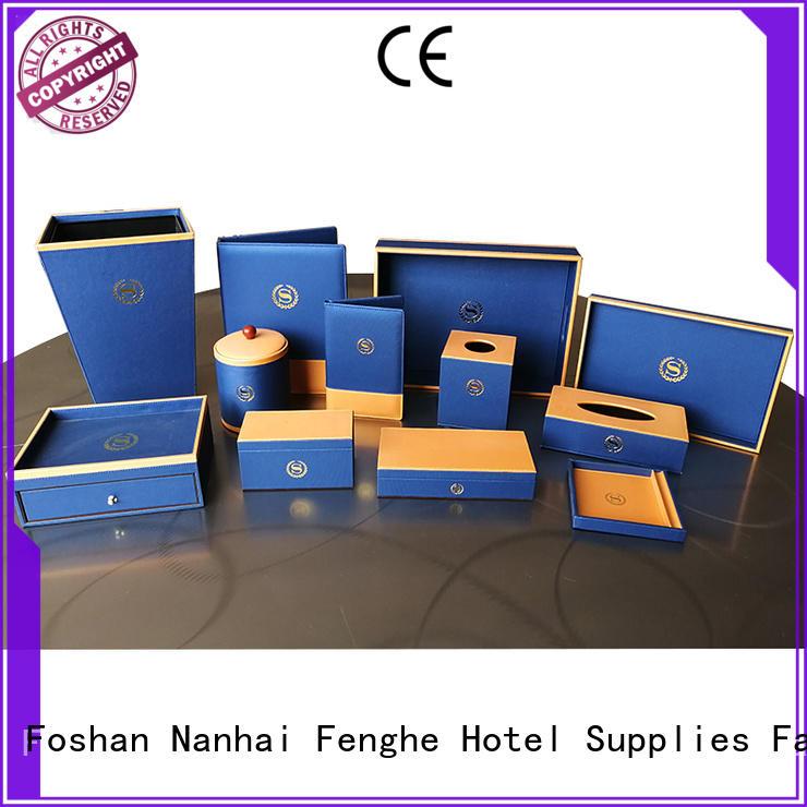 Fenghe Brand hospitality accessories custom leather storage bin