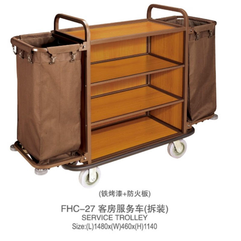 Fenghe laundry hotel housekeeping maid cart trolley factory-1