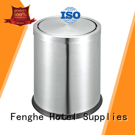 stainless steel trash can room steel waste paper bins for bedrooms leather Fenghe Brand