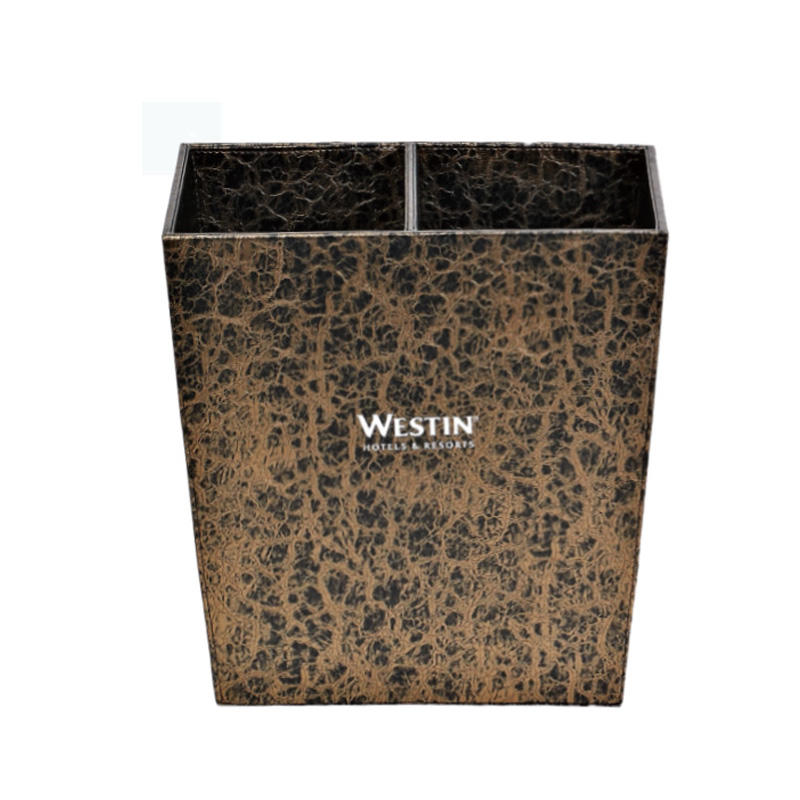 Hotel supplies trapezoidal leather dustbin trash bin