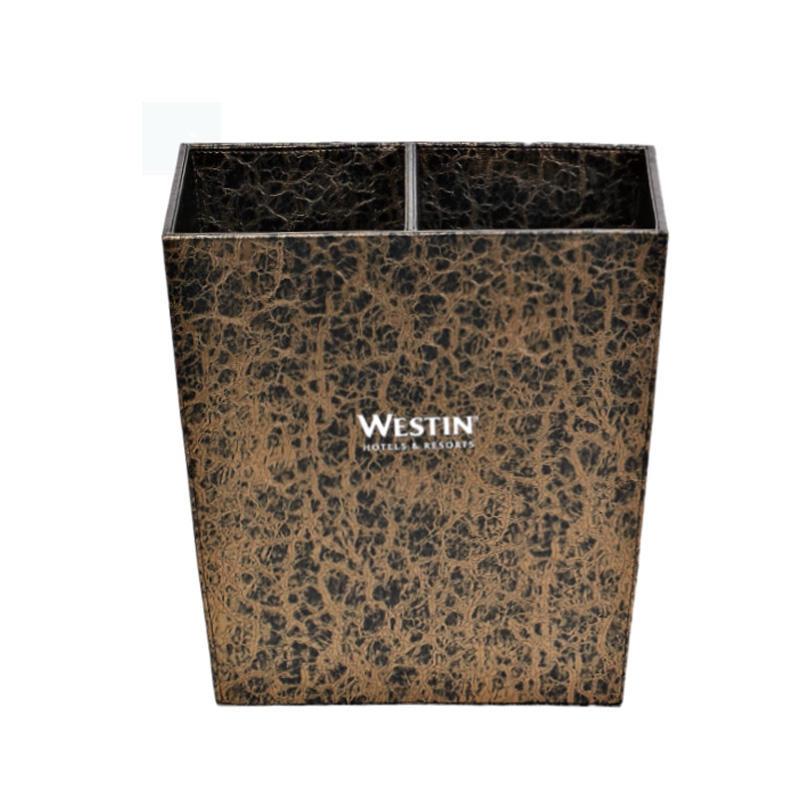 Hotel supplies trapezoidal leather dustbin trash bin