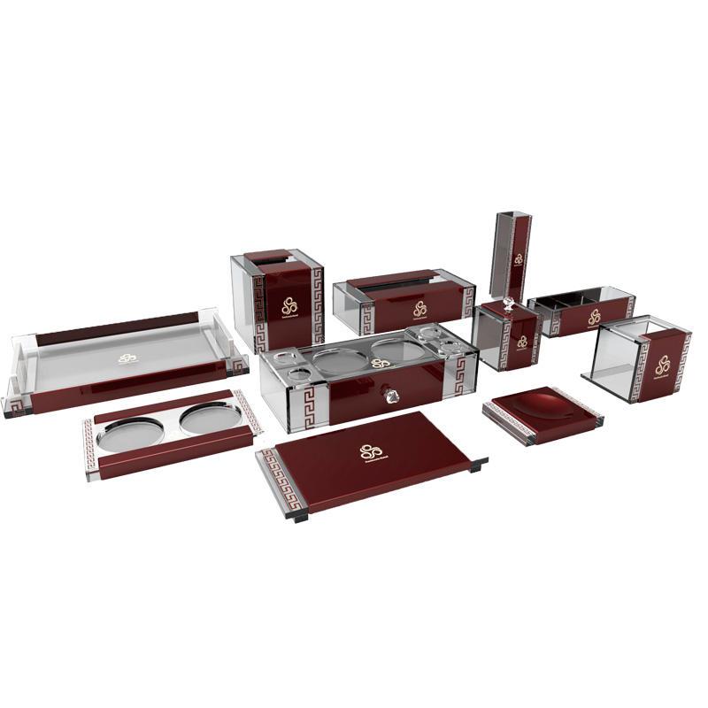 Hotel customized red acrylic products acrylic bathroom sets