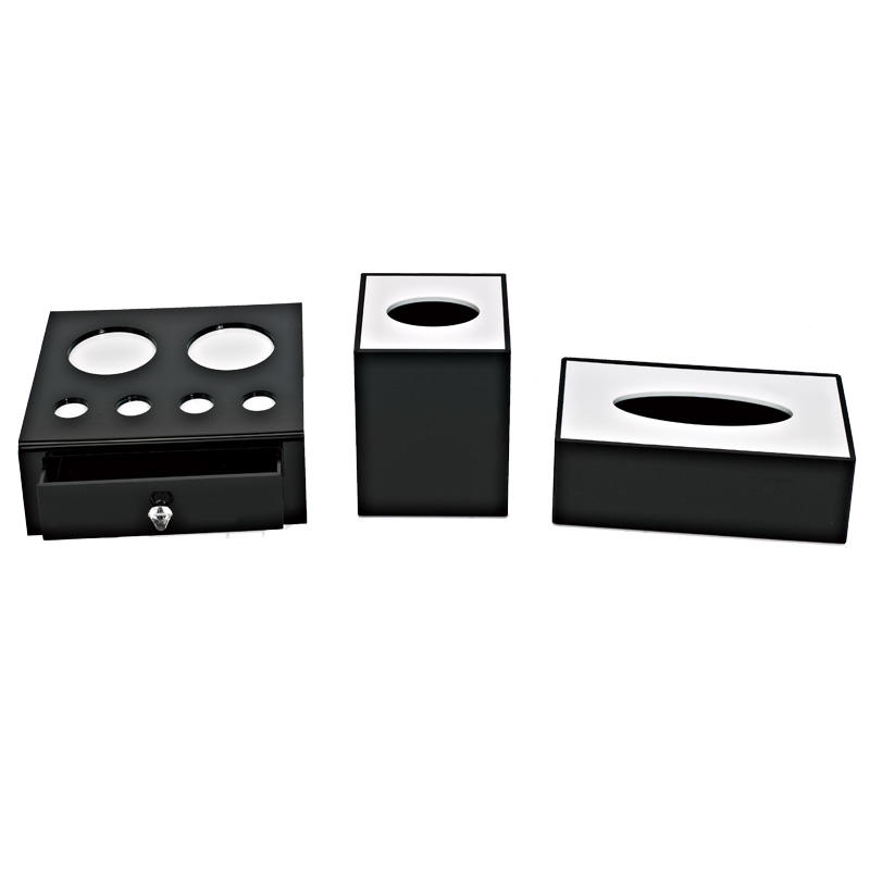 Hotel room accessories black and white acrylic products acrylic storage box display
