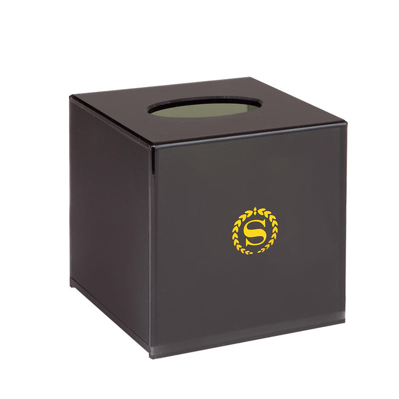 Factory supply hotel black acrylic cube box acrylic tissue box