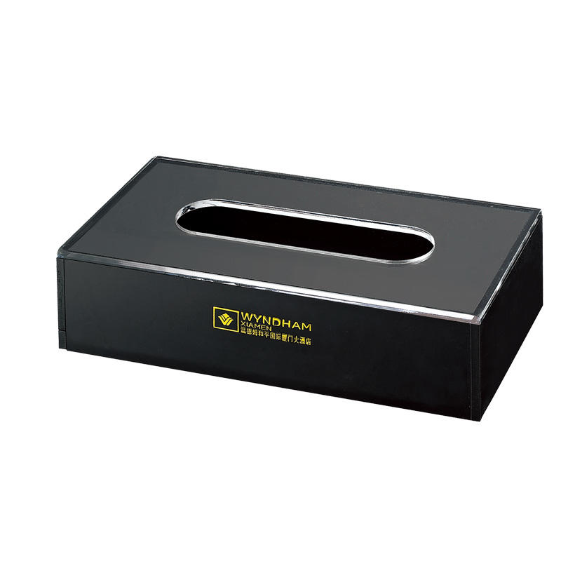 Hotel supplies black acrylic body clear acrylic on the top tissue box