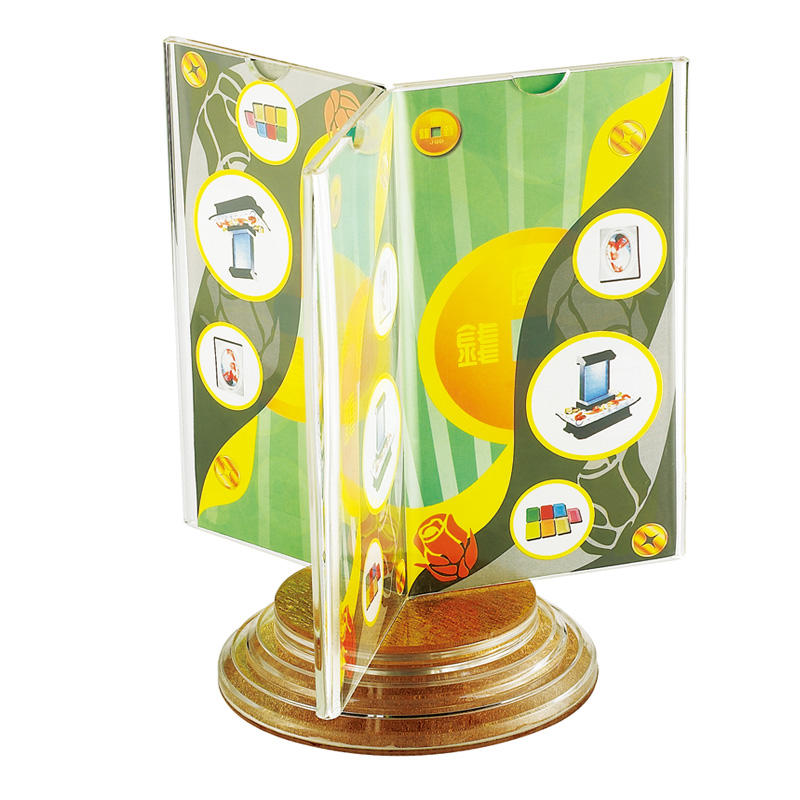 Wholesale hotel room rotating clear acrylic 3 faces sign holder acrylic table talker
