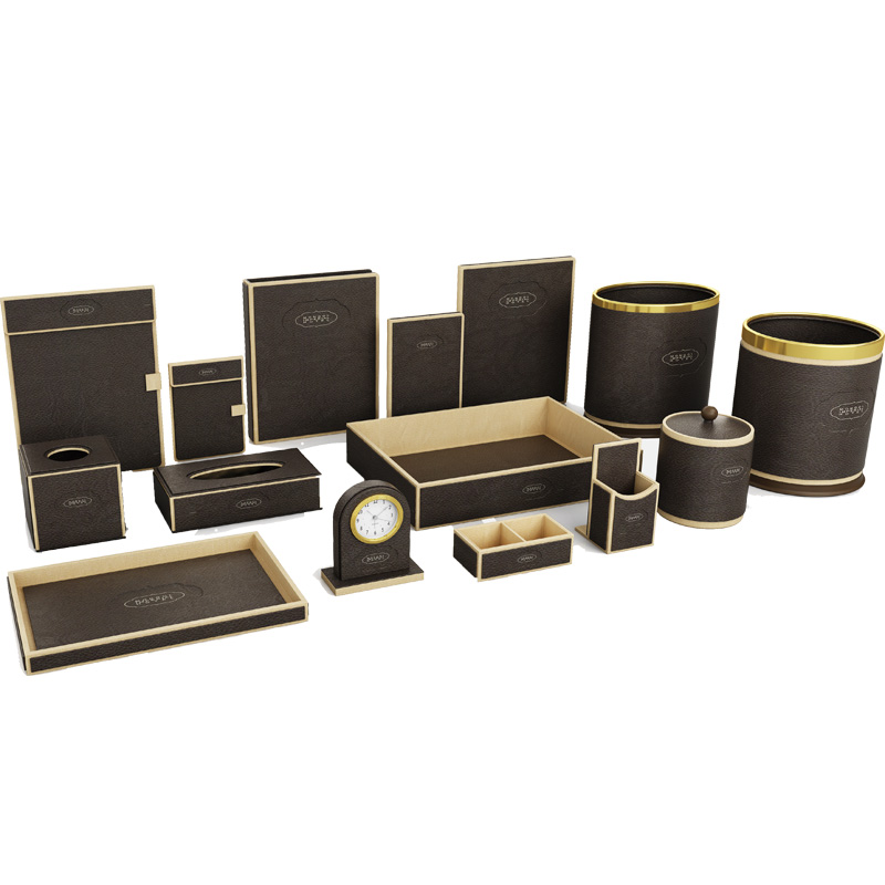 Fenghe-Manufacturer Of Bathroom Amenity Tray Hotel Dark Brown Leather Products
