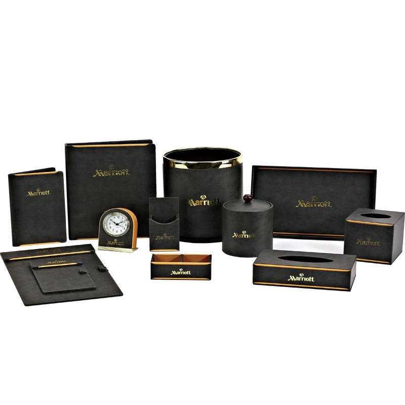 Hotel guest room black golden leather products hotel leather menu cover restaurant menu cover
