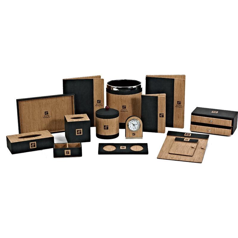 Hotel room dark brown leather products , leather menu folder, restaurant menu cover