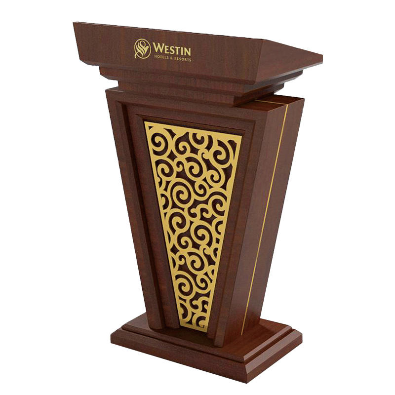 Hotel brown wooden rostrum speech lectern podium