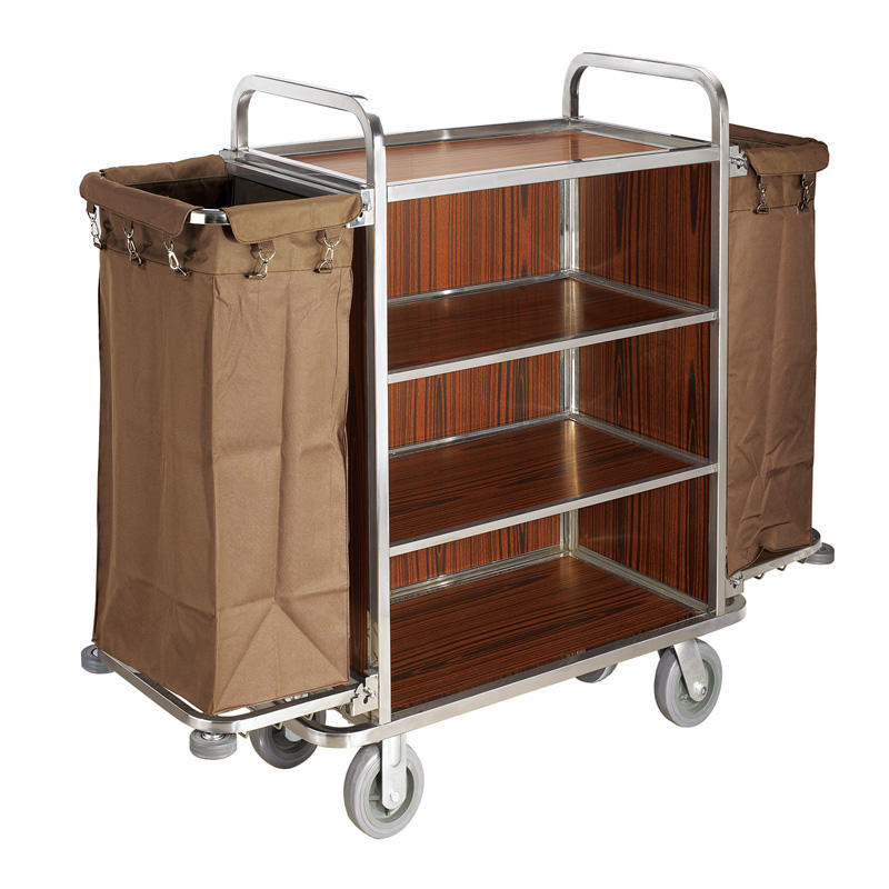 Hotel stainless steel housekeeping service maid's cart