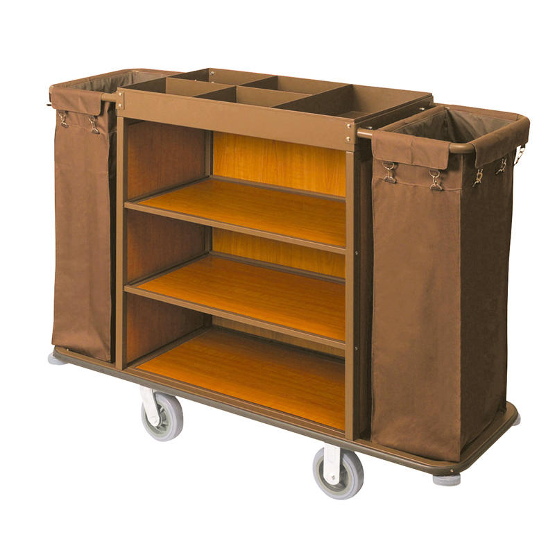 Hotel wooden housekeeping service trolley maid cart
