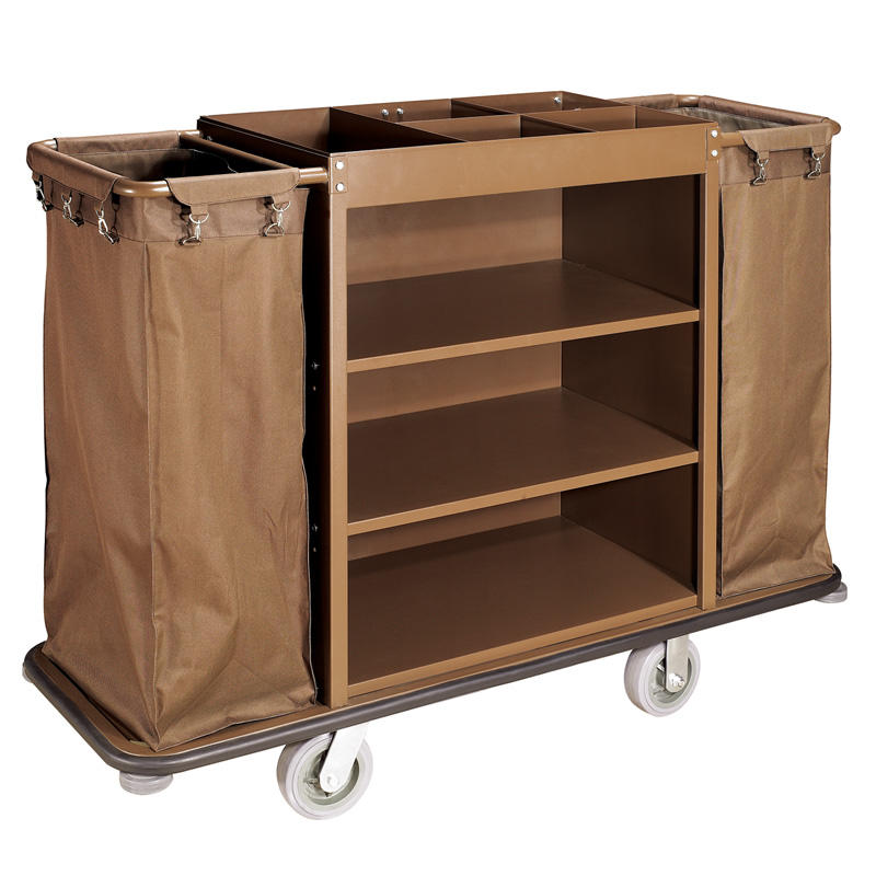 Hotel metal housekeeping service cleaning trolley maid cart