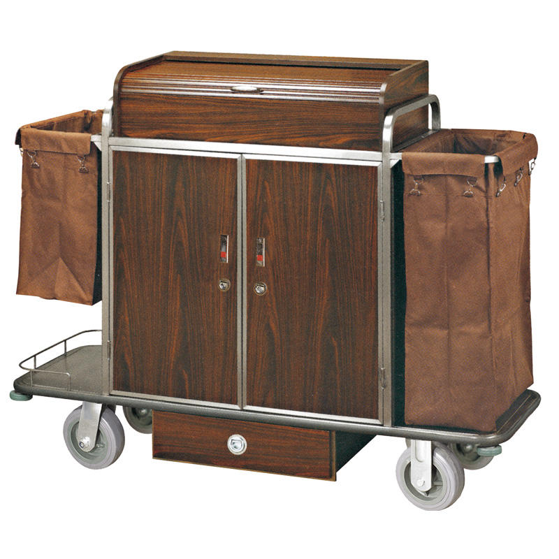 Hotel housekeeping service maid cart with door