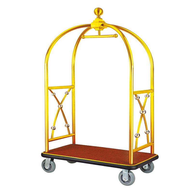 Hotel golden luggage cart luggage bellman trolley