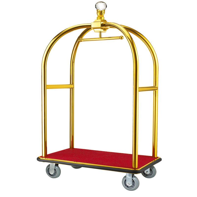 High quality polished brass 4 wheels luggage trolley cart bellman trolley