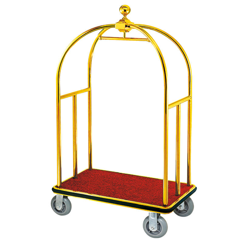 Hotel golden four wheel crown head hotel luggage trolley cart