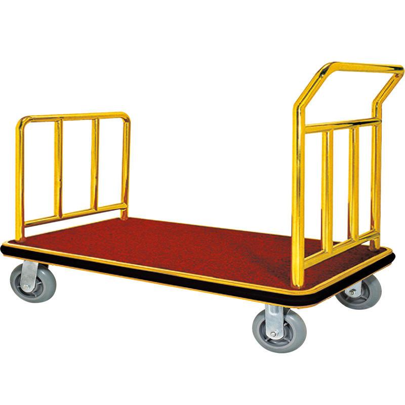 Hotel golden lobby luggage trolley luggage cart hand truck