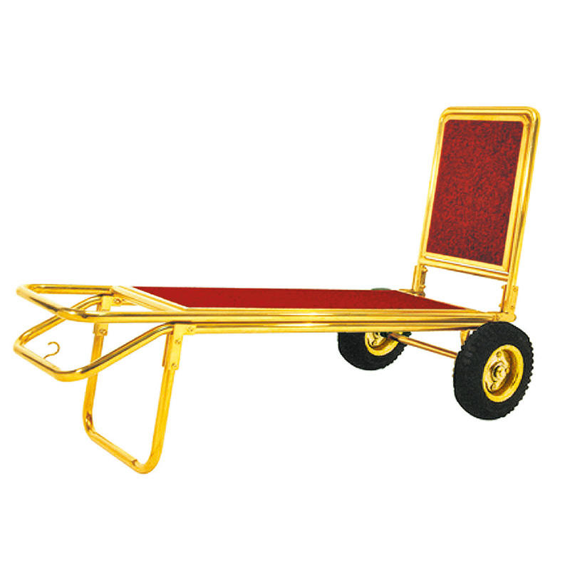 Hotel golden lobby luggage trolley luggage cart hand truck