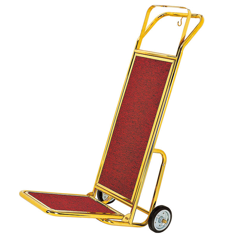 Hotel golden lobby hand truck luggage trolley cart