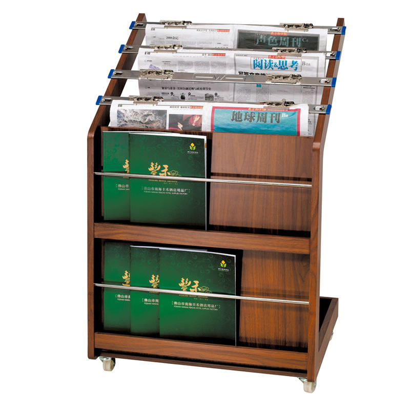 Customized wooden hotel magazine display rack