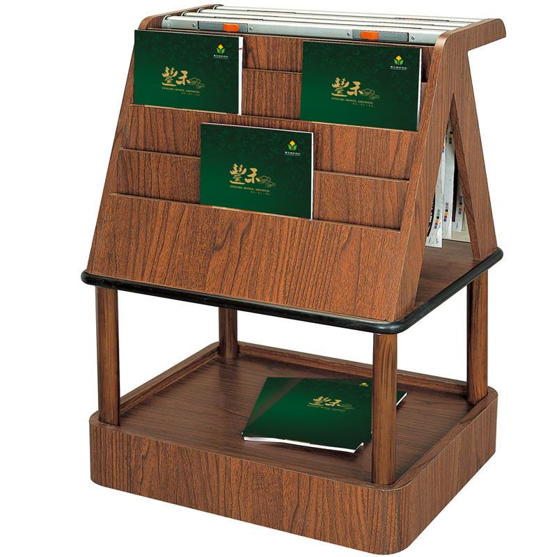 Wholesaler solid wood brown magazine display rack