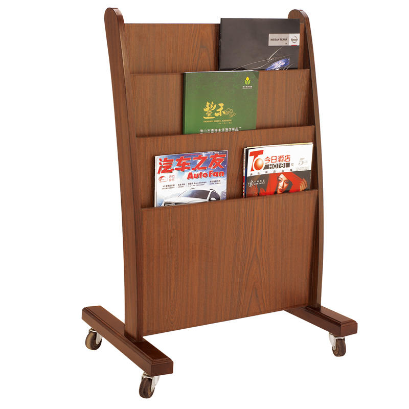 Hotel four wheels newspaper rack magazine display