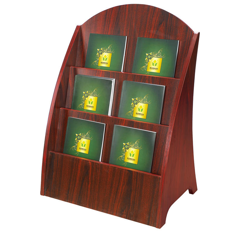 Manufacture wooden 3-tier display stand magazine rack