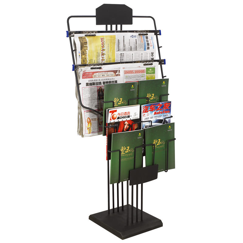 Hotel black newspaper racks magazine display stand