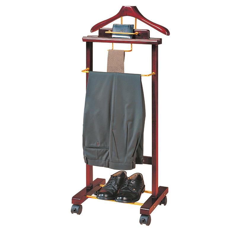 Modern design hotel four wheels wooden coat stand coat rack