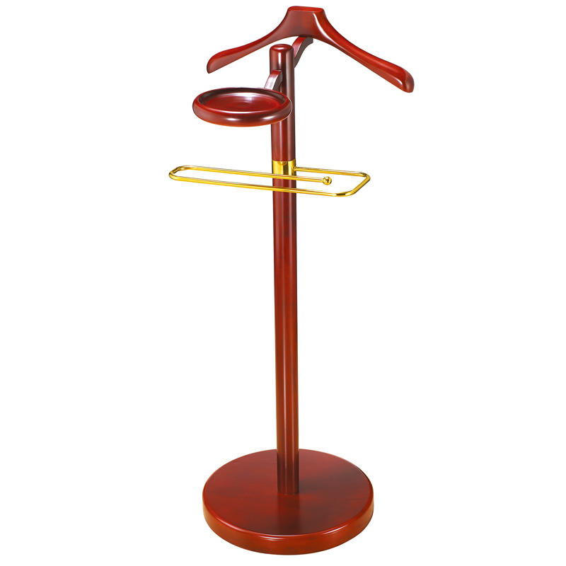 Hotel room vertical antique wooden clothes tree coat hanger stand