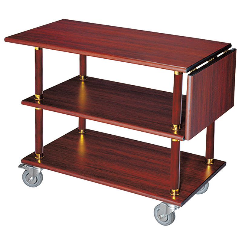 High quality hotel wooden food serving cart wine serving trolley liquor trolley