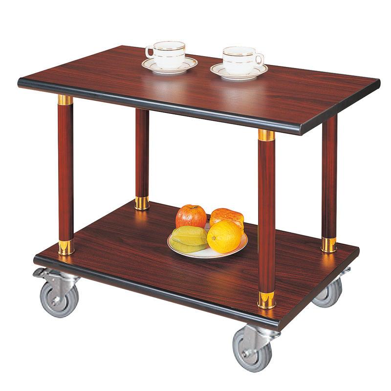 Restaurant cherry red wooden wine serving trolley cart liquor trolley