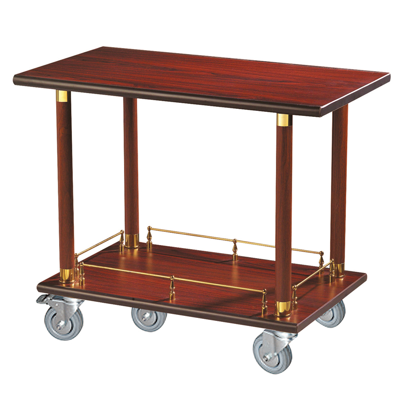 Fenghe-Restaurant cherry red wooden wine serving trolley cart liquor trolley