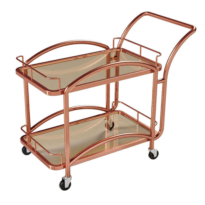 Hotel antique 2 tier metal wine trolley liquor trolley