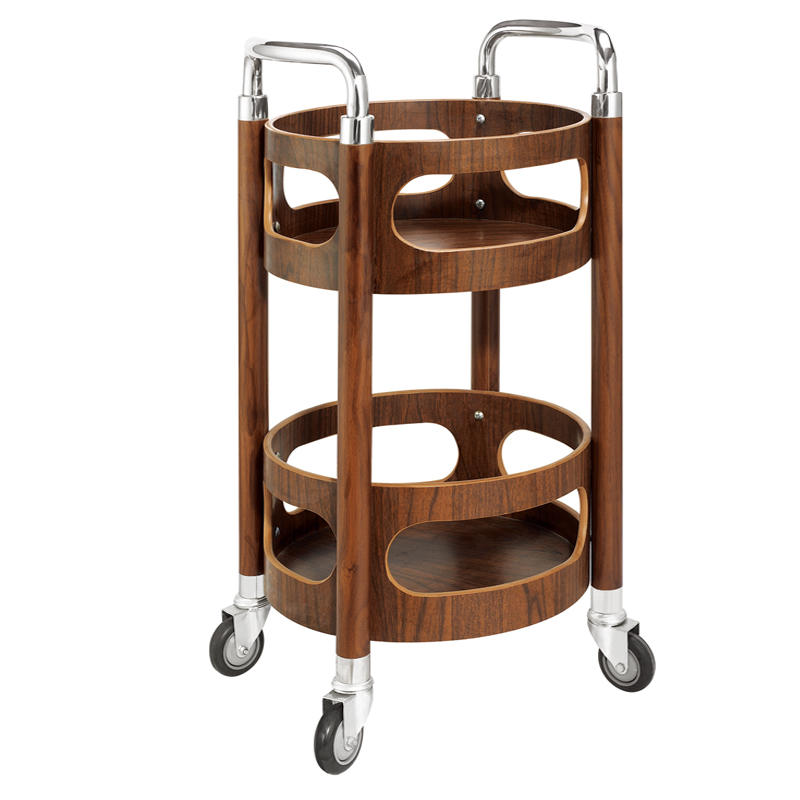 Hotel round wooden serving hand trolley liquor wine cart tea trolley