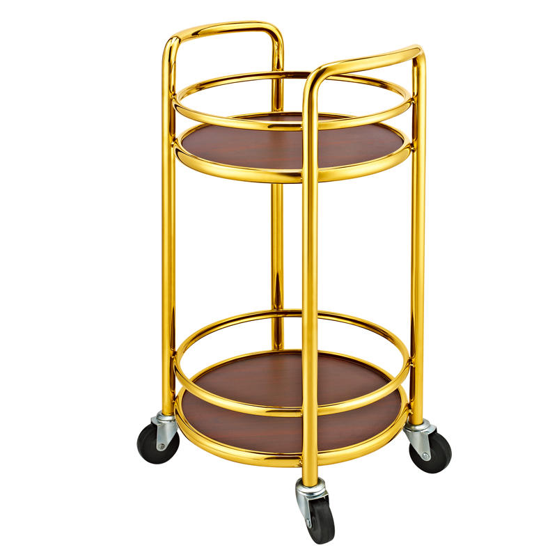 Four wheels 2-layer round wine cart liquor trolley
