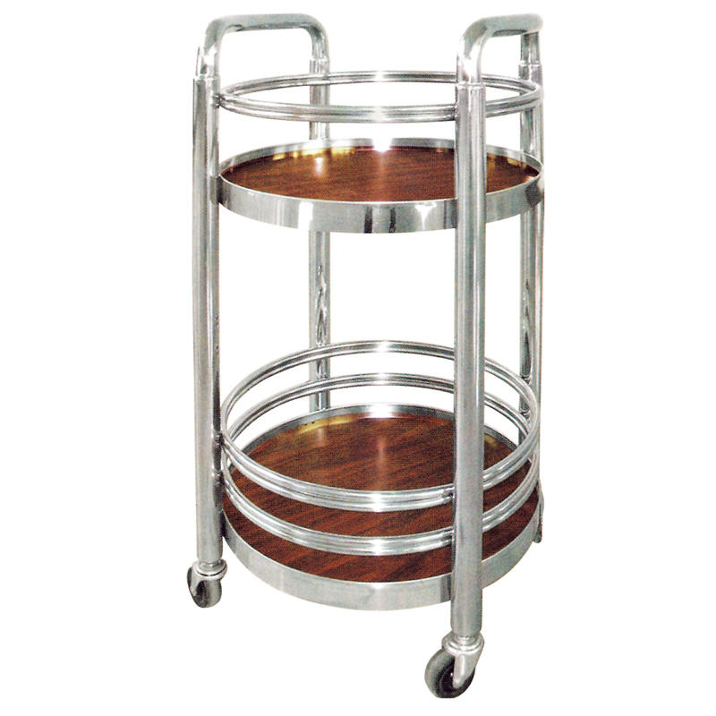 Hotel four wheels round wine cart liquor trolley