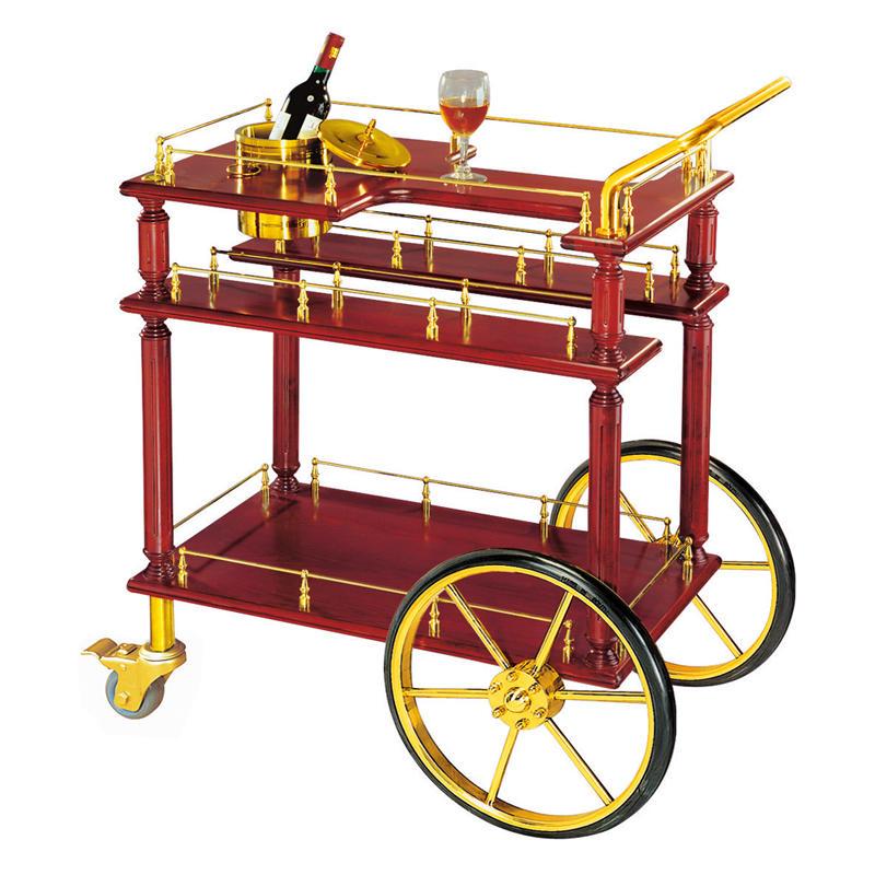 American style 3-tier hotel wine trolley liquor trolley cart