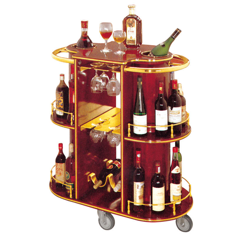 Hotel 3 tier wooden wine trolley liquor service trolley