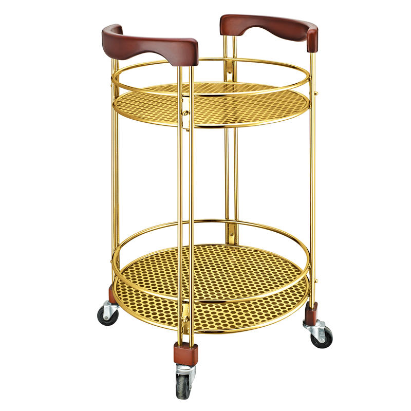 Hotel 2 layers round wine service trolley cart liquor trolley