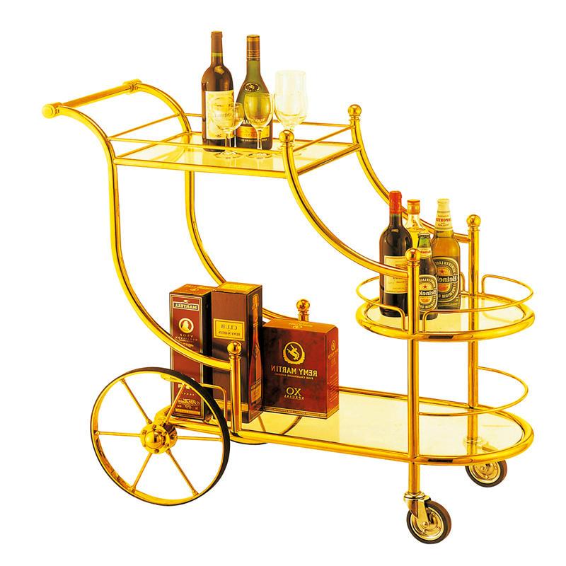 Hotel 3 tier golden wine cart trolley liquor trolley