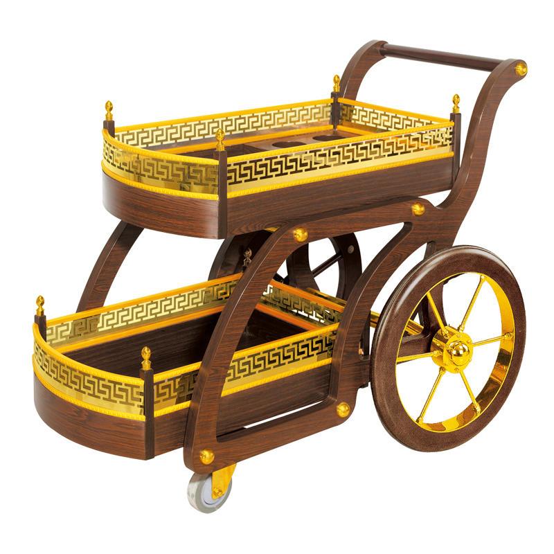 Hotel brown wooden wine trolley liquor service trolley