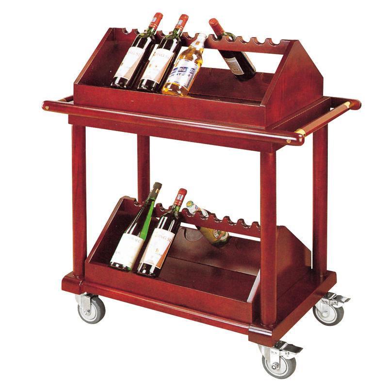 Hotel wooden wine trolley food serving cart liquor trolley